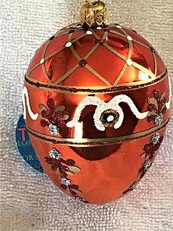 """#339Med - Thomas Glenn """"Orange Egyptian Egg - Medium"""" Faberge Egg  Ornament"""