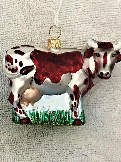 "Thomas Glenn - ""Cow - Brown & White""  Molded Christmas Ornament"