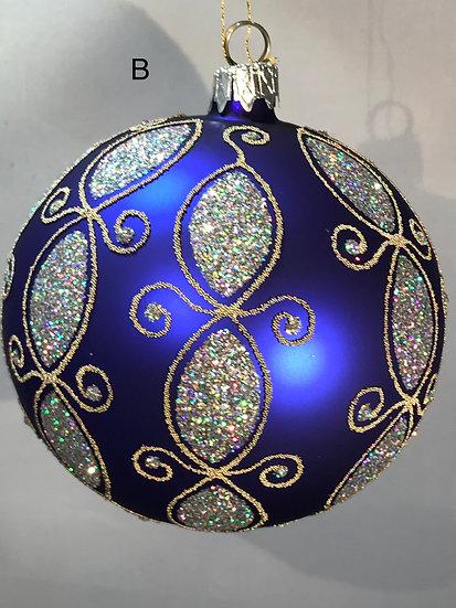 "Thomas Glenn ""Modern Silver on Blue"" Faberge Egg Ornament #B"