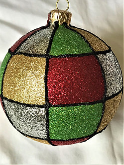 "#536-Multi - Thomas Glenn ""Squares - Multi Colored"" Ball Christmas Ornament"