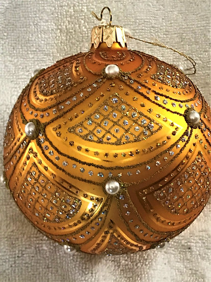 "#633GD - Thomas Glenn ""Scallop - Gold"" Ball Christmas Ornament"