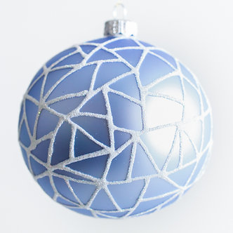 "#1965 - Thomas Glenn ""Cracked Ice on Blue"" Ball Ornament"