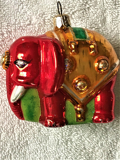 "Thomas Glenn ""Elephant - Red & Gold"" Molded Christmas Ornament"