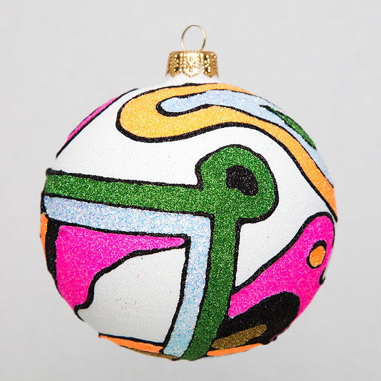"#1746W - Thomas Glenn ""Surreal Dream in White"" Ball Ornament"