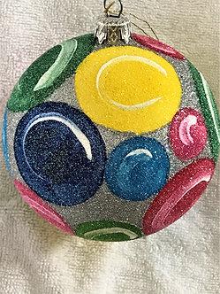 "#630SV - Thomas Glenn ""Spaceballs on Silver"" Ball Christmas Ornament"
