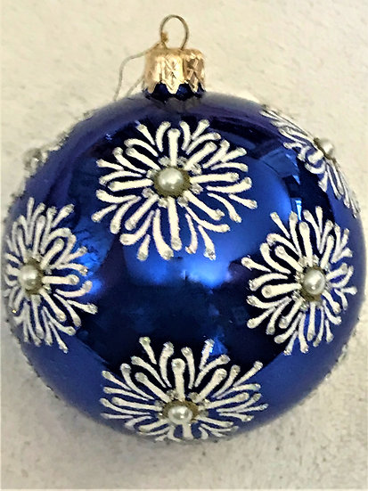 "#756 - Thomas Glenn ""Snowflake- Blue"" Ball Christmas Ornament"