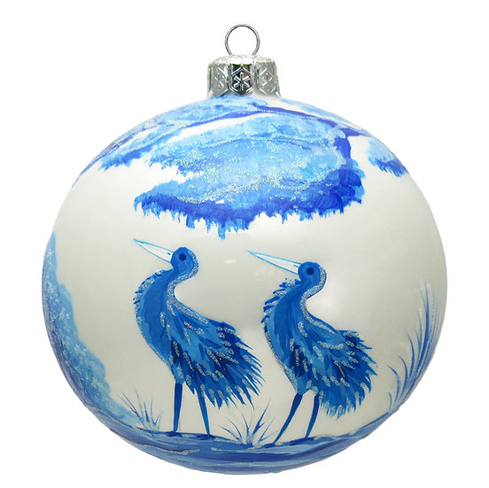 """#1641 - Thomas Glenn """"Blue & White Cranes"""" Ornament"""