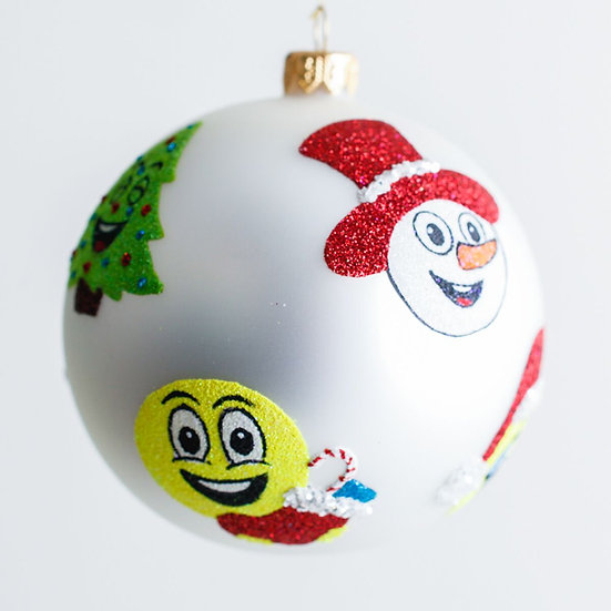 """#1903 - Thomas Glenn """"Christmas Emoji's"""" Ball Ornament"""