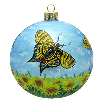 """#1527 - Thomas Glenn """"Butterflies are Free to Fly"""" Ball Ornament"""