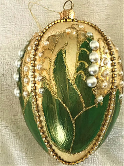 """#319A - Thomas Glenn """"Lily of the Valley - Original"""" Faberge Egg Ornament"""