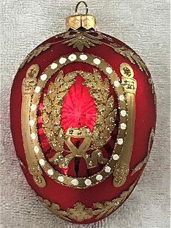 "#4R - Thomas Glenn ""Russian Egg - Red"" Faberge Egg Christmas Ornament"
