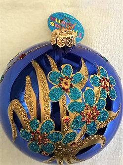 """#9B - Thomas Glenn """"Flowers on Blue"""" Ball Christmas Ornament"""