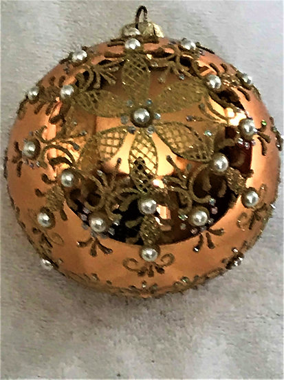 "#774 - Thomas Glenn ""Jewel Snowflake Gold"" Ball Christmas Ornament"