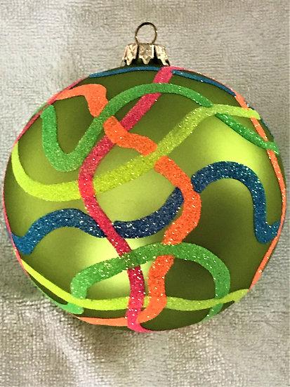 "#741 - Thomas Glenn ""Streamers - Lime"" Ball Christmas Ornament"