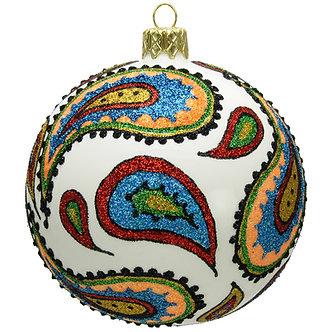 "#734Multi - Thomas Glenn ""Multicolor Paisley"" Ball Ornament"