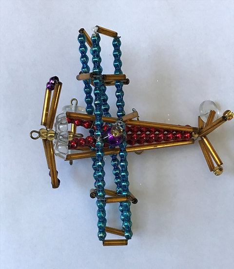 "Czech Glass ""Airplane"" Beaded Christmas Ornament"