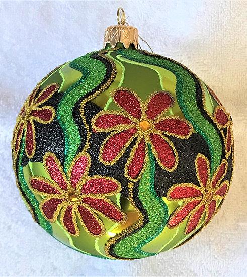 "#625R - Thomas Glenn ""Red Flower"" Ball Ornament"