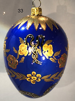 "#33 - Thomas Glenn ""Egg Snake Blue"" Faberge Egg Ornament"