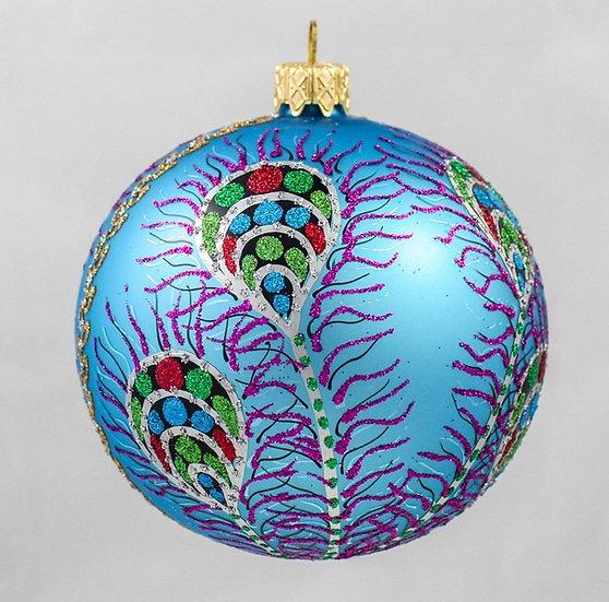 "#605B - Thomas Glenn ""Peacock Feathers on Blue Ball"" Ornament"