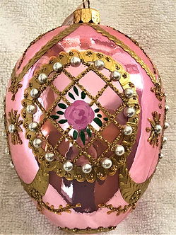 """#341 - Thomas Glenn """"Medallion Rose"""" Faberge Egg Christmas Ornament"""