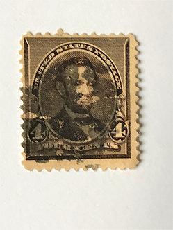 "Stamps ""US 1890-93 Lincoln Scott #222"" 4c dark brown"