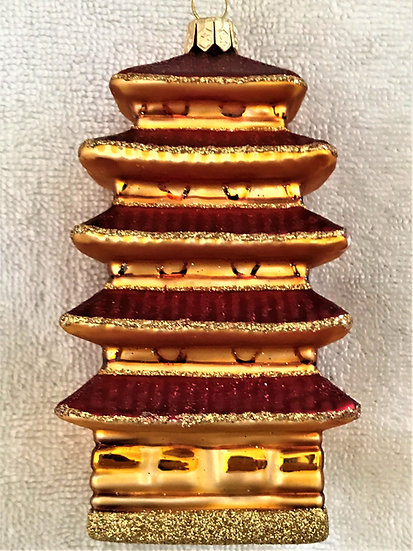 "#514 - Thomas Glenn ""Medium Red-Gold Pagoda"" Molded Christmas Ornament"