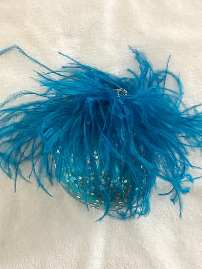 "#50 - Thomas Glenn ""Turquoise with Feathers"" Ball Christmas Ornament"