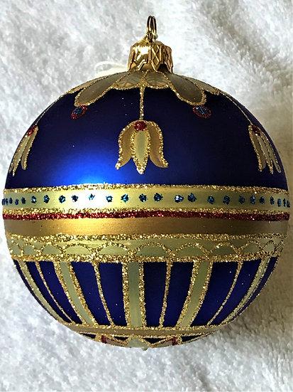"""#177 - Thomas Glenn """"Bell Flower - Blue"""" Ball Christmas Ornament"""