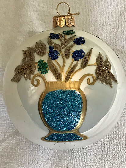 "#1W - Thomas Glenn ""Blue Vase with Flowers"" Ball Christmas Ornament"