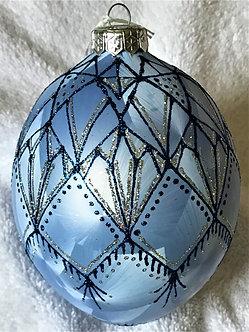 "#111 - Thomas Glenn ""Deco Egg - Blue"" Faberge Egg Christmas Ornament"