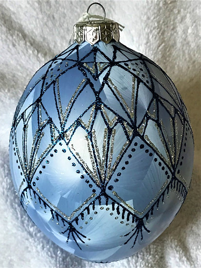 "#111 - Thomas Glenn ""Deco Egg - Blue"" Faberge Egg Christmas Ornament"