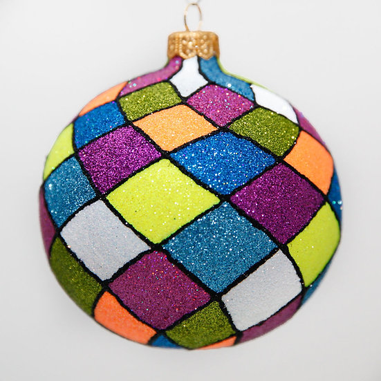 "#2028 - Thomas Glenn ""Modern Harlequin"" Ball Christmas Ornament"