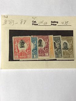 """Stamps """"Haiti #83-88"""" 2c-50c, 1903 issue, 6 values"""