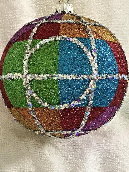 """#765 - Thomas Glenn """"Plaid"""" Ball Christmas Ornament"""
