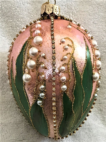 """#321 - Thomas Glenn """"Lily of the Valley - Pink"""" Faberge Egg Ornament"""