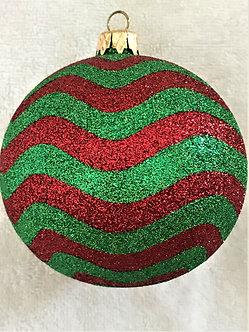 "#517 - Thomas Glenn ""Wave - Red & Green"" Ball Christmas Ornament"