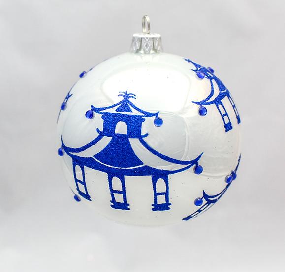 "#740B - Thomas Glenn ""Modern Pagoda Blue"" Ball Ornament"