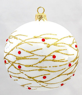 """#622 - Thomas Glenn """"Gold Branches"""" White Ball Ornament"""