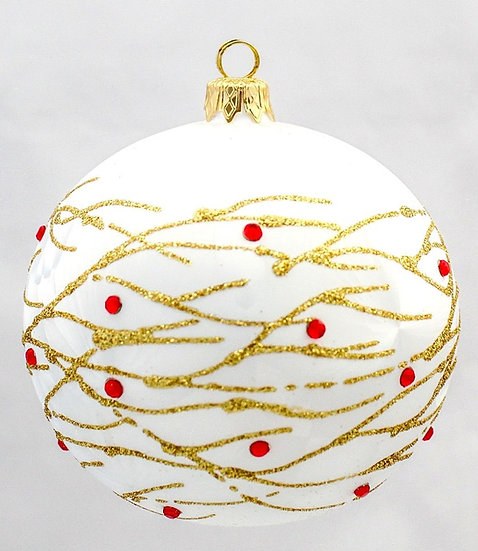 "#622 - Thomas Glenn ""Gold Branches"" White Ball Ornament"