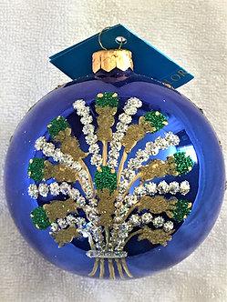 "#101 - Thomas Glenn ""Blue Ball with Bouquet"" Ball Christmas Ornament"