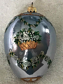 """#TG02 - Thomas Glenn """"Blue Egg - Basket of Flowers"""" Egg Christmas Ornament"""