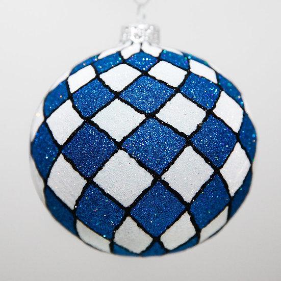 "#2069 - Thomas Glenn ""Harlequin - Blue & White"" Ball Christmas Ornament"