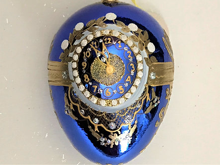 "#FAB008 - Thomas Glenn ""Tick Tock Blue"" Egg Christmas Ornament"