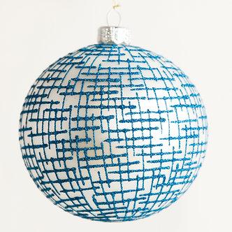 "#1737BW - Thomas Glenn ""Textile Blue and White"" Ball Ornament"