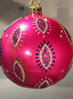 "#89PK - Thomas Glenn ""Amoeba Hot Pink"" Ball Ornament"
