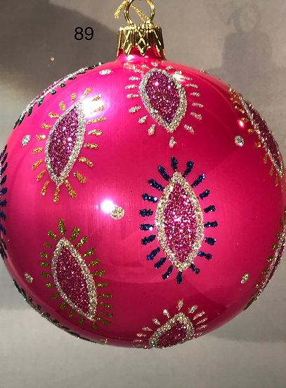 "#89PK - Thomas Glenn ""Amoeba Hot Pink"" Ball Ornament"