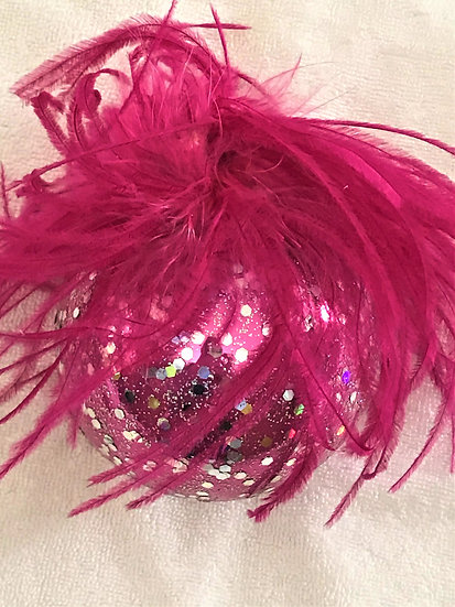 """#48HP - Thomas Glenn """"Hot Pink with Feathers"""" Ball Christmas Ornament"""