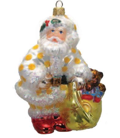 "Thomas Glenn ""Santa - Yellow Dots"" Molded Christmas Ornament"