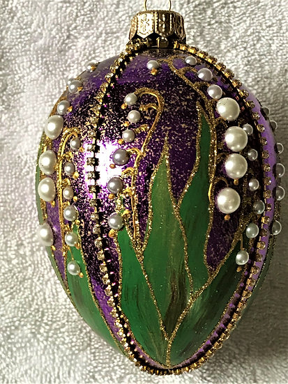 """#320 - Thomas Glenn """"Lily of the Valley - Purple"""" Faberge Egg Ornament"""