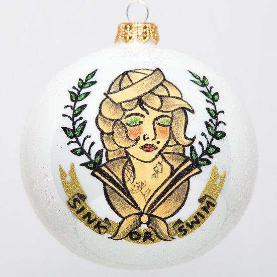 "#1757 - Thomas Glenn ""Sailor Girl Sink or Swim"" Ornament"